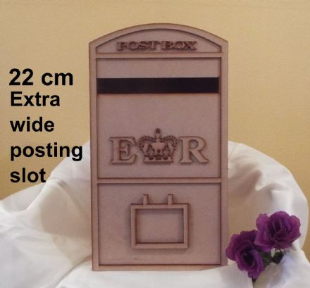 Extra wide Wedding Card Post Box Royal mail Style 3mm laser cut mdf Flat Packed